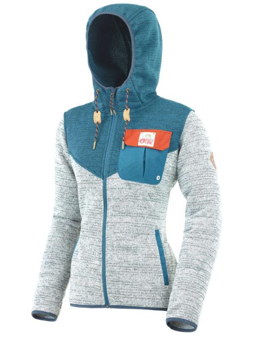 Veste à capuche grise et bleue