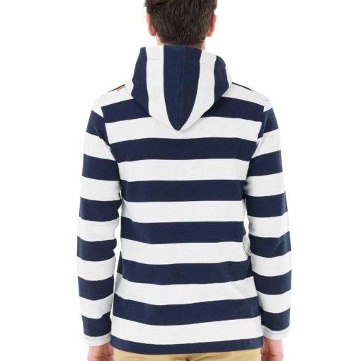 sweat à capuche zippé rayé bleu et blanc