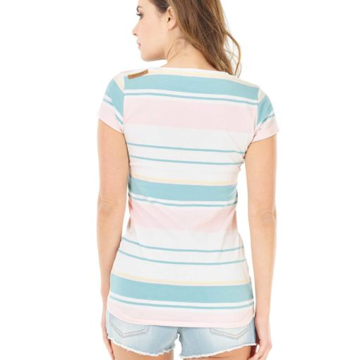 tshirt rayé couleurs pastel pour femme picture
