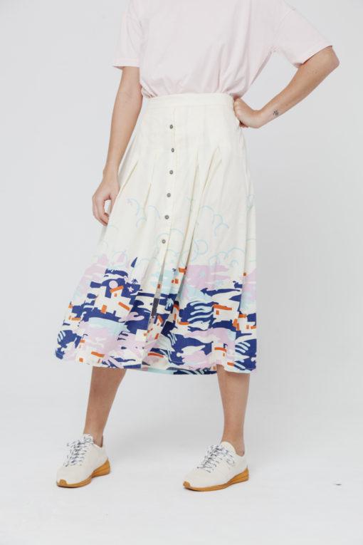 jupe longue taille haute coton bio thinking mu