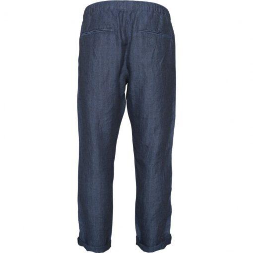 pantalon lin homme bleu marine