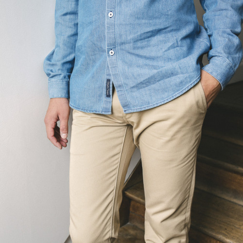 pantalon chino beige coton bio