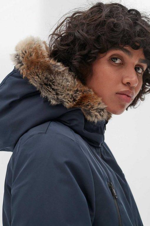 manteau femme bleu marine ecoalf