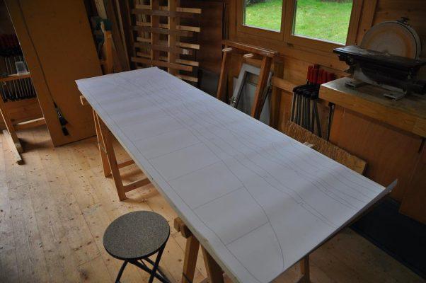 plan de la planche de surf en bois